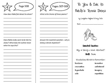 To You and Ode to Pablo's Tennis Shoes Trifold - Wonders 6th Grade Unit 6 Week 5