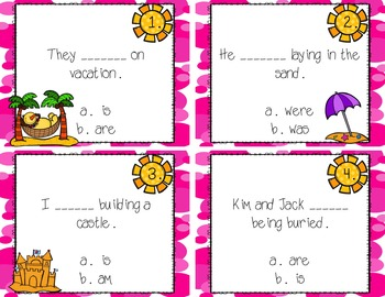 To be Verb (am, is, are, was, were) Task Cards