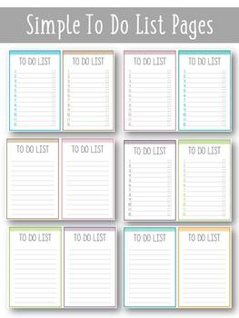 To do list / Blank pages / Notepad / Shopping list / Writing list / Make a list