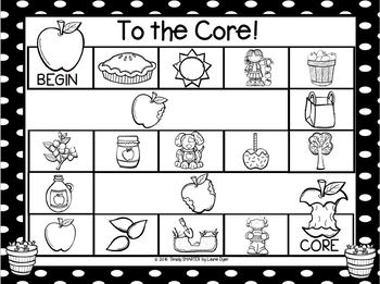 To the Core!:  NO PREP Apple Themed Syllables Game