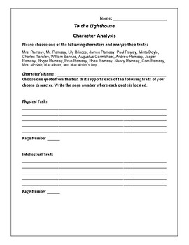To the Lighthouse Character Analysis Activity - Virginia Woolf