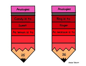 Analogies To the Point Task Cards