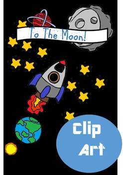 To the moon -space clip art