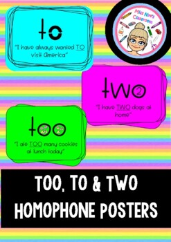 To, too and two homophone posters