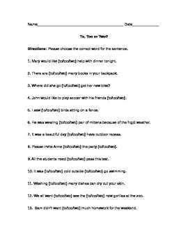 To/Too/Two Worksheet