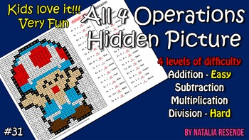 Toad - Mystery Picture - 4 operations - Four level difficulty