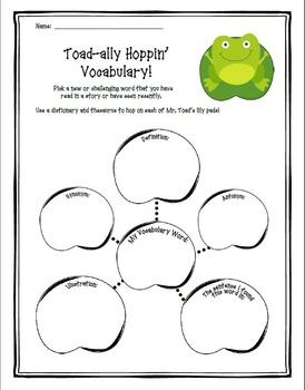 """""""Toad-ally Hoppin' Vocabulary"""" Activity"""