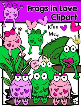 Valentine Clipart - Frogs in Love