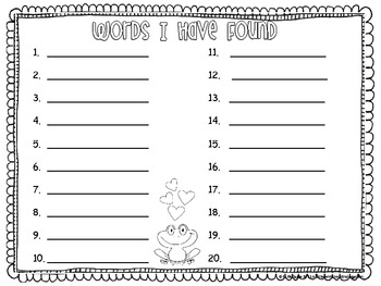Toadally In Love With Sight Word I-Spy-Differentiated and Aligned