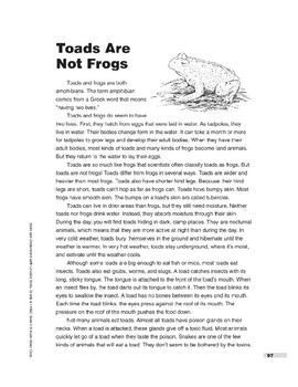 Toads Are Not Frogs (Lexile 840)
