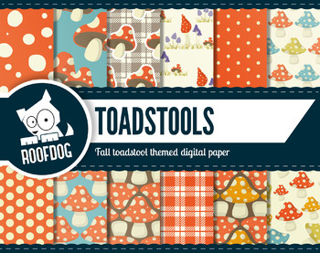 Toadstool themed digital paper Autumn Fall woodland toadstool