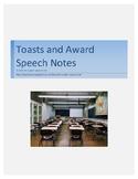 Toasts and Awards Speech notes