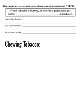 Tobacco Notes Worksheet