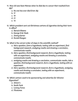 Tobacco Review Quiz and Answer Key