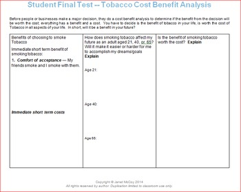Tobacco Unit Lesson 3 -- Final Review and Tests
