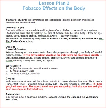 Tobacco Unit Lesson 2 -- Tobacco Effects on the Body
