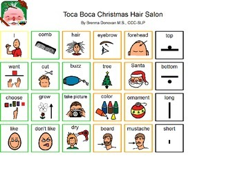 Toca Boca Christmas Hair Salon Communication Board for iPad