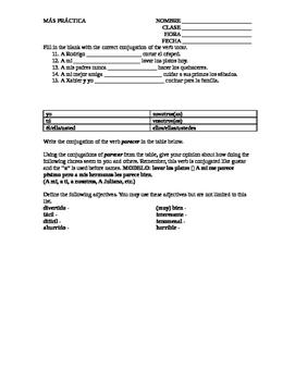 Tocar and Parecer Worksheet