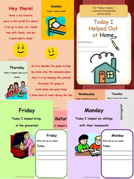 """""""Today I Helped Out at Home"""" Character Development Journal WITH Reward Cards"""