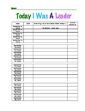 Today I Was A Leader - Take Home Behavior Chart