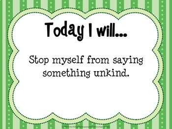 Today I Will... Daily Character Building Task Cards