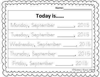 Today Is Calendar Writing Practice 2015-2016