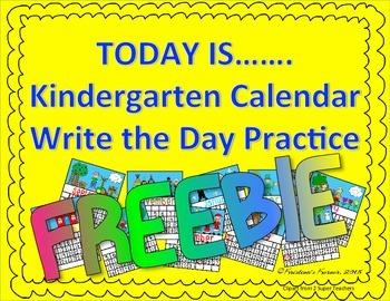 Today Is Calendar Writing Practice FREEBIE 2015