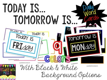 """Today Is..."" ""Tomorrow Is..."" Daily Headers & Word Cards"