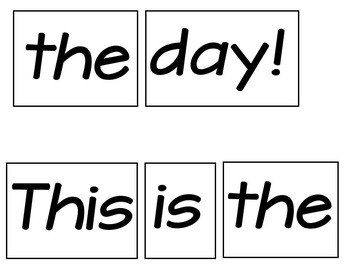 Today (Pocket Chart Poem)