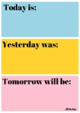 Today, Yesterday, Tomorrow Days of the Week Chart