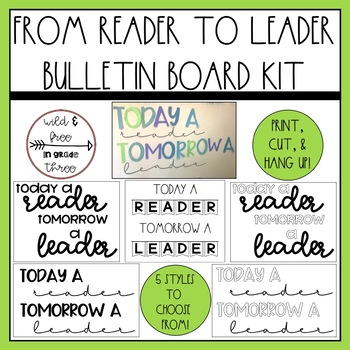 Today a Reader Tomorrow a Leader Bulletin Board / Cut Out Letters