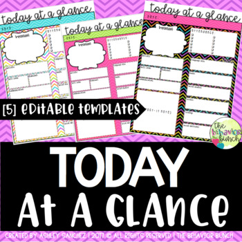 Today at a Glance {5 - EDITABLE Templates}