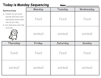 Today is Monday by Eric Carle: Sequencing Text Activity