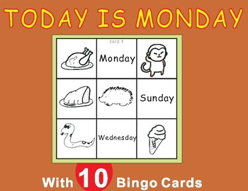 Today is Monday by Eric Carle -Tic Tac Toe Bingo Game Cards
