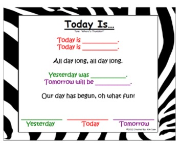 Today is Song for Calendar Time Jungle Theme