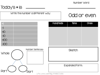Today's Number Organizer