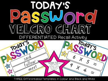 Today's Password Velcro Chart for Differentiated Recall