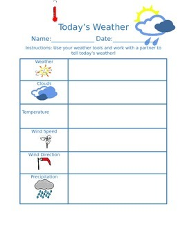 Today's Weather recording sheet