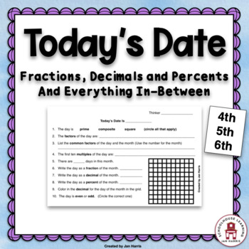 Today's Date Fraction Decimal Percent and Everything In-between