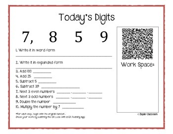 QR Code Today's Digits: Daily Math Review Question Worksheets