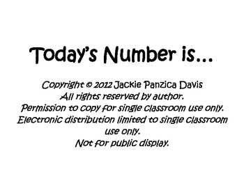 Todays Number Is... (Number of the Day)