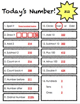 Today's Number Math Template