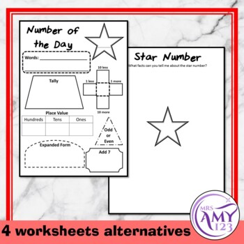 Number of the Day Display and Worksheets