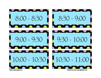 Today's Plan ~ A Day Schedule to post for students (polka dots)