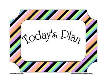 Today's Plan ~ A Day Schedule to post for students (stripes)