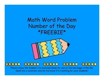 Today's Word Problem Freebie