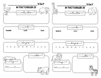 toddler daily sheet teaching resources teachers pay teachers