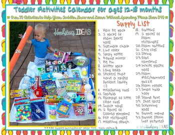 Toddler Activities Calendar for Ages 12-18 Months