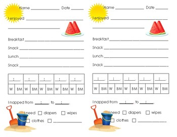 Toddler Daily Report Four Seasons