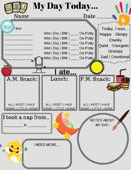Toddler Daily Report Paper for Child Care